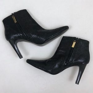 a424a71bf692 Colin Stuart heeled black snake skin booties